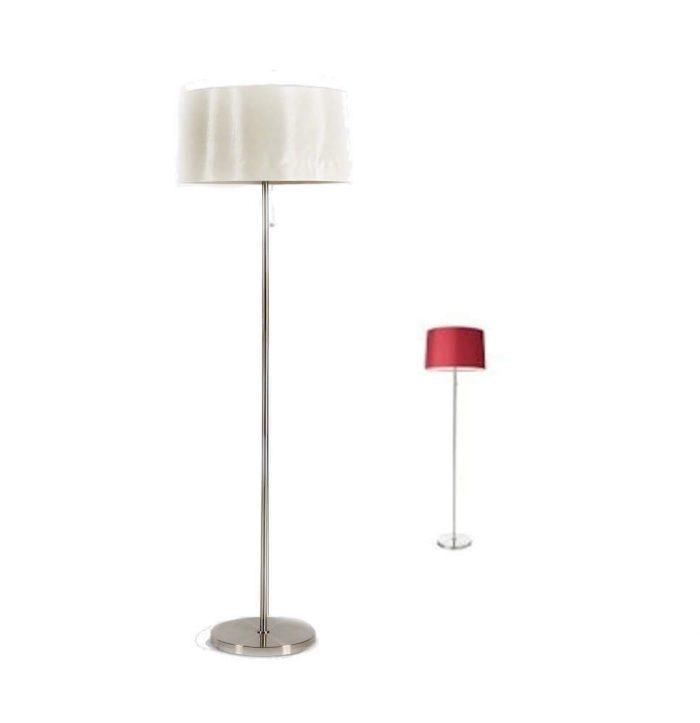 Stehlampe mit weißem oder rotem Lampenschirm