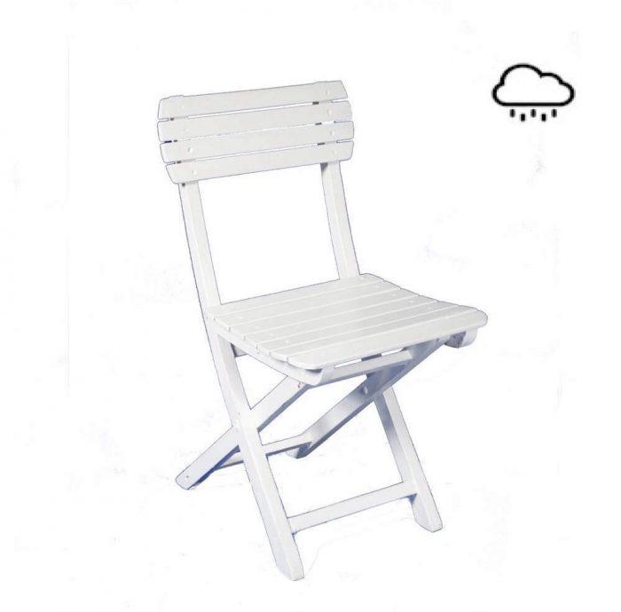 Holzklappstuhl weiss mit und ohne Sitzauflage verfügbar