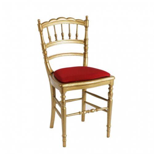 original Goldstuhl mit roter Sitzauflage